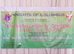 KNIGHT COLUMBUS INSTALLATION OF OFFICERS PRESIDENT RAMON MAGSAYSAY ASSEMBLY FOR CY 2018-2019